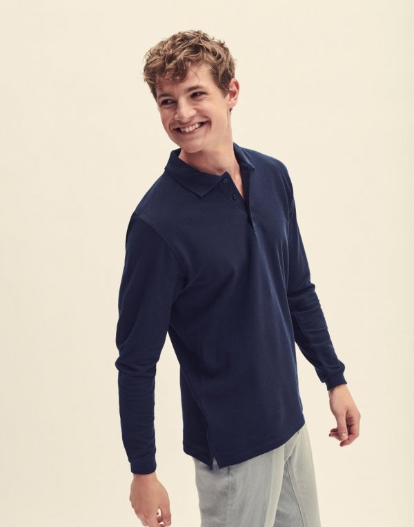Tricou Polo Maneca Lunga Premium, Fruit of the Loom